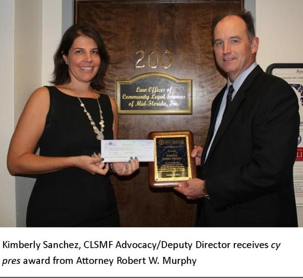 Cy Pres Award Oct 2014 Kimberly Sanchez and Robert Murphy with Caption 3